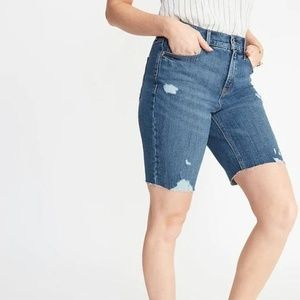 High-Waisted Distressed Jean Bermuda Shorts